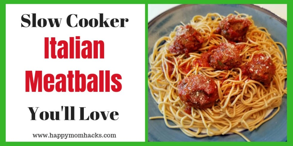 Delicious Slow Cooker Italian Meatballs recipe. A quick and easy weeknight meal or fun party appetizer you'll love. #partyappitizer, #italianmeatballs, #familymeal