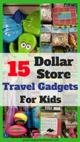 Need to entertain your kids on your next trip? Pick up these 15 Dollar Store Travel Gadgets and Accessories for your kids. Save money and keep everyone happy using these travel hacks and ideas on your next family vacation. #DollarStore, #TravelHacks, #FamilyTravel