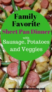 Quick and Easy Sheet Pan Dinner for weeknight meals. Tasty sausage, potatoes, green beans and asparagus in a complete family meal baked on one pan. Best part - only one pan to wash when your done! #FamilyDinnerIdeas, #SheetPanMeal, #QuickFamilyMeal