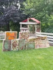 Cool DIY Nerf Base for kids at home Nerf Battles. It's super easy to create these cool battlefields to use at Nerf Gun Birthday Parties.