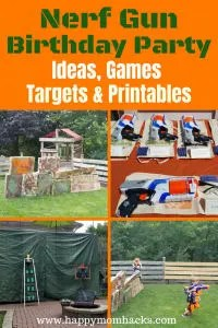 Ultimate Nerf Gun Birthday Party Ideas. Includes games for the kids to play, DIY targets to create, and free printables. Learn how to plan the best Nerf gun birthday. #nerfbirthday, #kidbirthday, #nerfgun