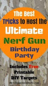 How to thorw an Awesome Nerf Birthday Party with ideas for games, favors, pintables, nerf targets, bases and more. It's a party your kids will never forget.