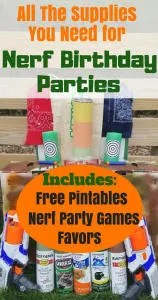 How to throw the best Nerf Birthday Party. Find all the ideas and your'll need to plan your party. It includes, fun Nerf games, favors, DIY targets, and free printables. #birthdayparty, #kidsparty, #nerfparty, #partyideas
