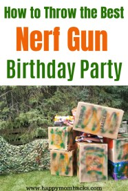 Best Nerf Gun Birthday Party Ideas. Find DIY Games, Bases, Party Favors and more. Everything you need to throw an awesome Nerf Birthday! #nerfbirthday #kidsbirthday #birthdayparty #nerf