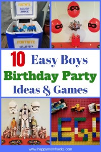 10 Awesome Birthday Party Themes and Ideas for boys. All the ideas and games you need to figure out your kids next birthday.  Find Fortnite, Nerf Gun, Sports, Star Wars and Game Truck Ideas for the older kids. For the younger boys find Lego, Paw Patrol, Incredibles, PJ Masks, and more. Get ready for a great party. #boysbirthday, #birthdaypartyideas, #birthdaytheme
