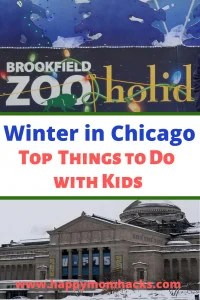 Winter in Chicago! 7 fun Things to do with Kids in the city and suburbs. Great places to go over the holidays to see the holiday lights or stay out of the snow and cold. #winterinchicago, #thingstodokids, #chicagoattractions