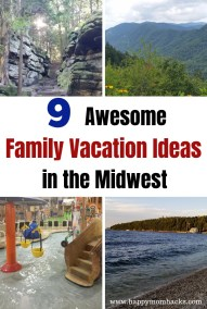 9 Fun Family Vacation Ideas in the Midwest.  Great things to do on 9 different weekend getaways. Find fun water parks, National Parks, beaches, children's museum and more.  Road trips ideas kids will love suggested by real moms in the US. #weekendgetaway #familytravel #familyvacation #traveltips #midwest