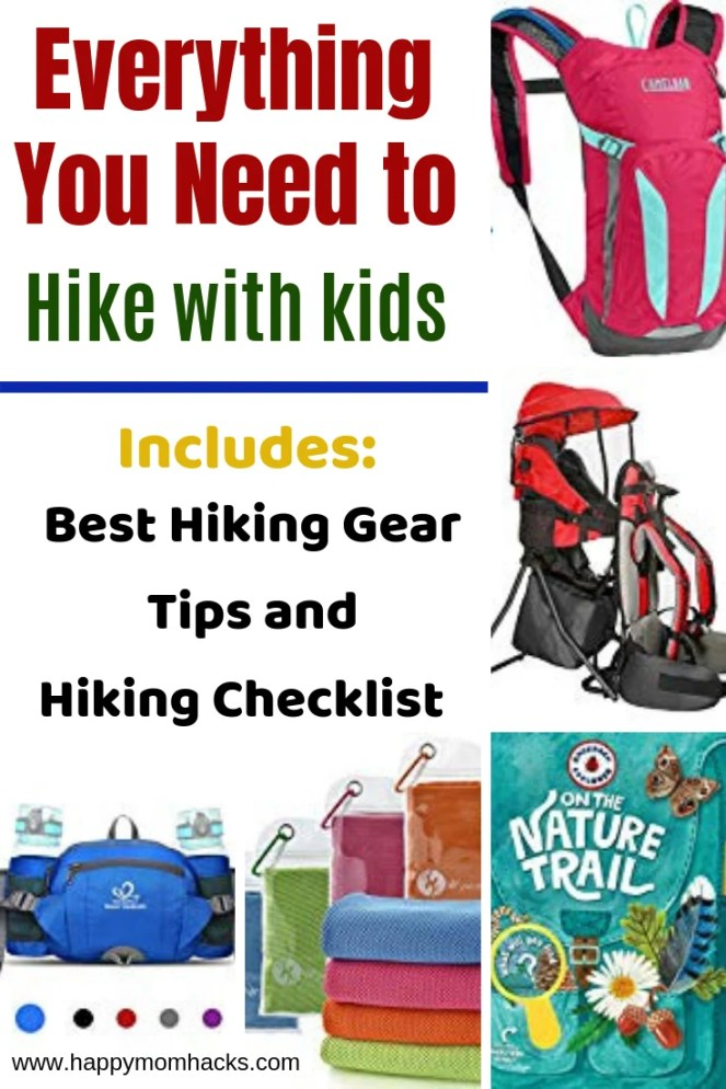 All the Hiking Gear you need when Hiking with Kids.  Be prepared for your hiking trip with back packs, hiking shoes, activities for the trail, scavenger hunts & more. Plus get a free printable Hiking Checklist with everything you need to bring. #hiking #hikingwithkids #travelwithkids #familytravel #freeprintable