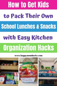 Kitchen Organizational Hacks for School Lunches & Kids Snacks. Easy DIY project and tips to help you organize your pantry and refrigerator so kids can pack their own school lunch and snacks. Use Dollar store containers or get them from Amazon. Make your life easier with these household hacks. #pantryorganization #householdhacks #organizationtips #schoollunches #kidssnacks