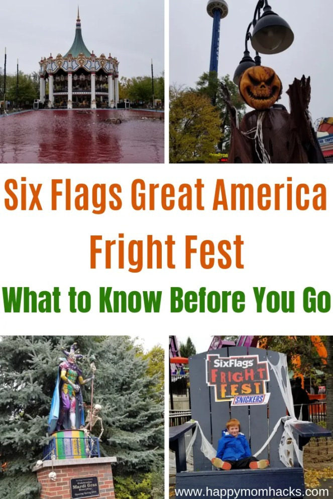 Six Flags Tip to Fright Fest. Six Flags Great America Amusement park and everything you need to know before you go what to bring, and ride. Best attractions for kids. #sixflags #amusementpark #halloween #traveltips