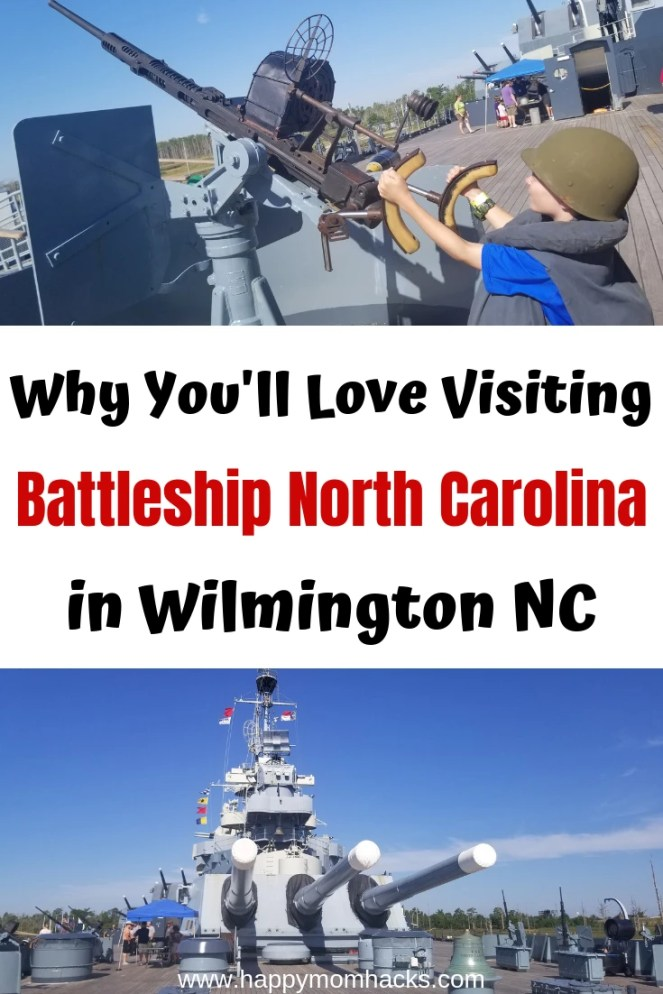 Visit Battleship North Carolina. A Must See Attraction in Wilmington NC! Adults and kids will love exploring the 9 levels of the ship and learning the WWII history. Get tips on what to expect and what to bring with you on your visit. #battleship #northcarolina #wilmingtonnc #familyvacation #warmemorial #WWII #traveltips