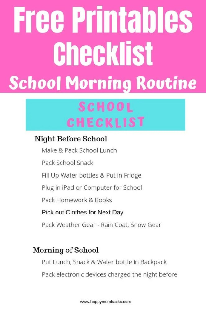 Free Printables Checklist for Kids. Perfect morning routine checklist for before school and an after school activity Checklist. Learn how to be organized for school this year and have a stress free year.  #freeprintables #printables #morningroutine #kids #parentingtips #backtoschool #backtoschoolorganization