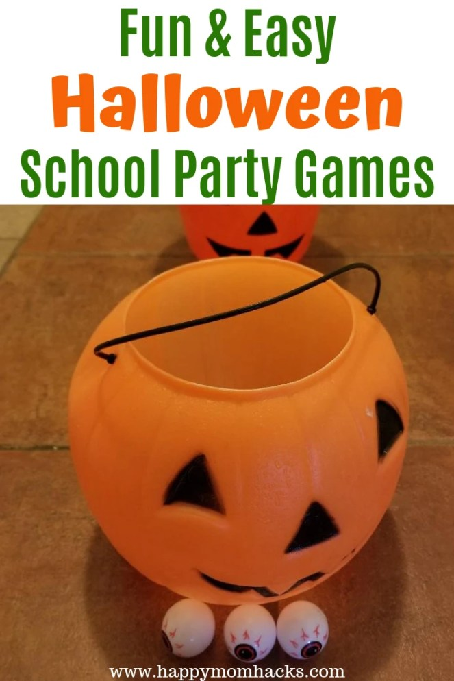 Best Halloween School Parties - 8 Games Elementary School kids will love to play and are super easy for the Room Parents to create. Plan your whole party with these tips. #schoolparties #halloweenparties #halloween #gamesforkids #minutetowinit