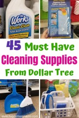 45 Best Cleaning Supplies at Dollar Tree and how to make an organizational Caddy. These must have products will clean your whole house. Let me help you find the cleaning items that will work for you! #cleaning #cleaningsupplies #organization #dollartree #dollartreefinds
