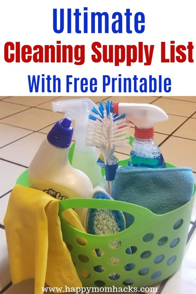 Best Household Cleaning supplies list with Free Printable. Ultimate checklist of supplies to clean everything in your home from bathroom to the kitchen. Free Printable PDF #cleaning #freeprintable #cleaninglist #cleaningsupplies