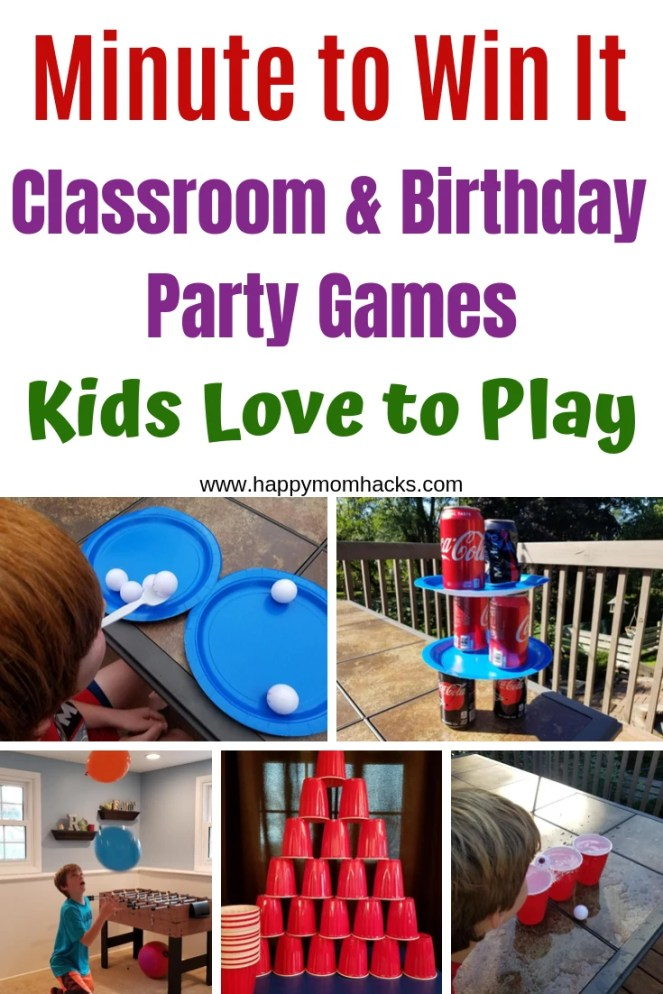 20 Classroom & Birthday Party Minute To Win It Games. Fun & easy games to play with kids. Don't stress about hosting a party when you have these fun activities to keep the kids busy. Perfect for Holiday's too. #classroomgames #schoolparties #minutetowinit #gamesforkids #kidsgames #minutetowinitgames