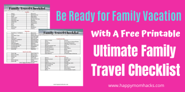 Ultimate Family Travel Checklist to get you prepared for traveling with Kids. Everything you need to pack for your vacation. You'll never forget things again. #freeprintable #travelchecklist #travelingwithkids #familyvacation
