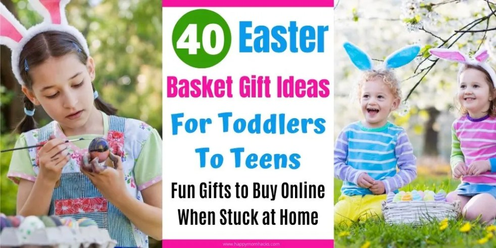 Easter Basket Gift Ideas for Toddlers to Teens. Fun gifts you can order off amazon from home. No need to go to the store. Make it an exciting Easter even though your stuck at home. #easter #eastergift #easterbasket #easterbasketideas