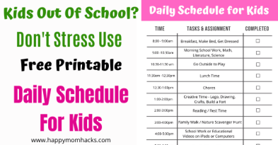 Free Printable Kids Daily Routine Schedule. Get organized when school is out this summer with an easy to follow routine. Make your summer stress free! #kidsschedule #dailyschedule #kidsroutine #freeprintable