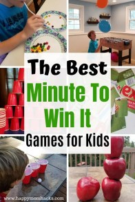 20 Minute to Win It Games for Kids and Teens.  Fun & Easy games to play as a family at home or at a party for kids. Use simple items you have at home to play these hilarious games.  #minutetowinit #partygames #gamesforkids #kidsgames
