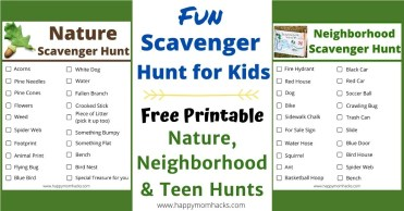 Fun Scavenger Hunt Ideas for Kids. Outdoor free printables Nature, Neighborhood and Teen Scavenger Hunts to keep them busy for hours. Make your next walk with the kids fun and exciting. #scavengerhunt #scavengerhuntideas #nature #teens #neighborhoodhunt