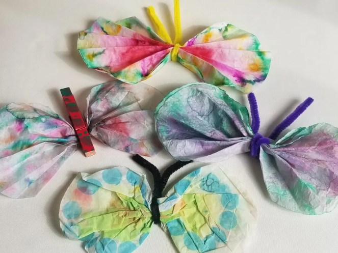 Kids Activity for Rainy Days. Coffee Filter Butterlies are a fun at home craft kids will love.