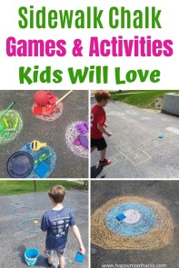 Awesome Sidewalk Chalk Games & Activities for kids. Get the kids excited about playing with chalk again. They'll stay busy for hours with these fun outdoor games and activities.  #kidsactivities #gamesforkids #chalkgames #sidewalkchalk