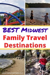Best Midwest Family Travel Destinations Kids Love. Fun kids road trip ideas and weekend getaways for families. Find beaches, cool cities, National Parks and more. Learn which Midwest vacation destination is the best for your family any time of year.  #midwest #familytraveldestination #familyvacation #travelwithkids