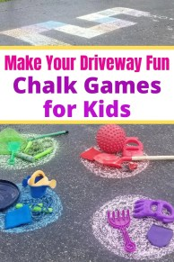 Best Outdoor Chalk Games for kids - Fun Sidewalk and Driveway activities the kids will love to play this summer. Easy ways to keep the kids busy outside and off electronics. #outdoorgames #chalkgames #sidewalk #activitiesforkids