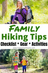 Essential Family Hiking Tips with Hiking Gear, trail activities for kids and free printable checklist of everything to pack. Be ready for a stress free day of hiking or a full National Parks vacation. #hikingwithkids #hikingtips #nationalparks #familyhikes