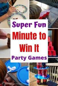 Awesome Minute to Win It Party Games for Kids. Entertain kids at birthday parties or family game nights with these 20 fun Minute to Win it Games. Easy to make with items you have at home. Kids will love playing these hilarious games. #minutetowinit #partygames #birthdaypartygames #familygamenight #kidsactivitites