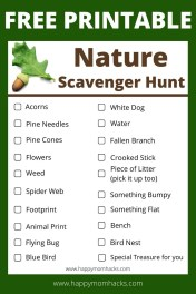 Free Printable Nature Scavenger hunt for Kids. Kids will love taking this on your family hike to National Parks or Nature Preserves. A fun game to keep them entertained while you hike. #hikingwithkids #nature #scavengerhuntforkids #hiking