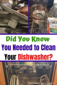 How to Clean a Dishwasher in 4 Easy Steps. Best ways to clean your filter and disinfect your dishwasher with Vinegar or Baking Soda. You won't believe how easy it is to do! #cleaninghacks #cleaningtips #dishwasher #cleandishwasher #vinegar #bakingsoda #springcleaning #cleaningkitchen