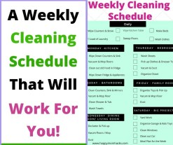 Free Printable Weekly Cleaning Schedule for busy moms. Stop being overwhelmed by cleaning your house. #cleaninghack #cleaningtips #freeprintable #cleaningschedule