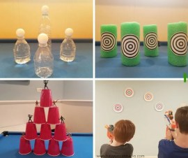 Indoor Nerf Targets & Games for Kids when your staying at home. Fun kids activity with easy DIY target ideas.