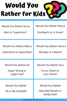 Would You Rather Questions for Kids Free printable PDF. Fun party games for kids to play on Zoom, Classroom parties, birthday parties, road trips, school brain breaks, holiday parties and virtual parties. Funny questions that will have kids, parents and teachers laughing and having a great time together. #wouldyourather #kidsgames #gamesforkids #partygames #schoolgames #holidaypartygames #classroomgames #virtualgames #zoomgame