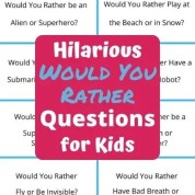 Hilarious Would You Rather Questions for Kids. A fun party game for kids to play at classroom parties, birthday parties & virtual parties. How to play the game and free printable pdf cards. #wouldyourather #kidsparty #partyforkids #gamesforkids #kidsgames #pdf
