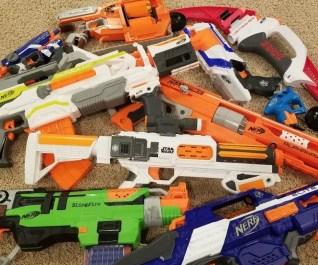 Nerf Guns to use at kids Nerf birthday parties.