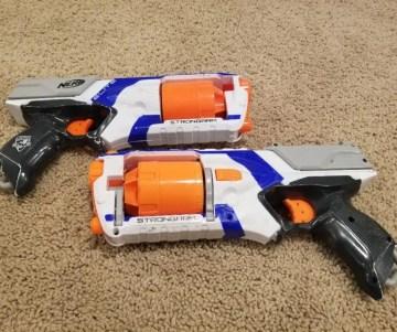 Nerf N-Strike Elite Strongarm Nerf Gun to use at kids Nerf Parties.