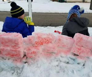 Snow Forts Made with Snow Paint. Create the coolest snow fort by snow painting it when your done building. All you need is a simple snow paint recipe with food dye & water. Try it on the next snow day.