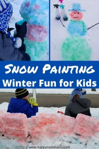 Snow Painting is an Easy Winter Activity for Kids Outdoors. Kids will love painting their snowman, snow forts, snow castles and making their own creations our of paint. Super easy & cheap to do with water and food dye. Make sure to try this on your next Snow day. #snowpaint #snowpainting #winteractivity #kidsactivity #snowday #snowfort #paintingsnow