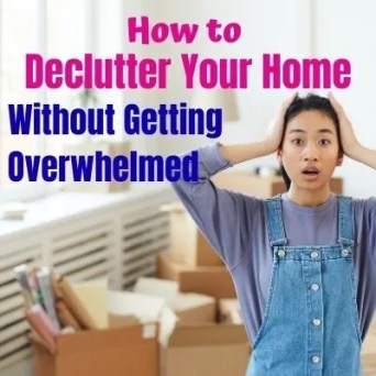 Decluttering your home with easy steps on where to start decluttering, what to get rid of and organization tips. Stop being overwhelmed and start decluttering your whole house stress-free with these easy organization tips.