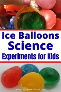 Ice & Salt Science Experiment with Ice Balloons for Kids. Show kids what happens when water freezes. Then do a salt and ice melting experiment together. Try these two cool ice experiments for the kids at home or school. They're also are a fun way to decorated kids' snow castles too!