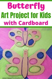Fun Butterfly Art Projects for Kids with Cardboard. An easy craft for kids at home or school using up all those Amazon boxes to create art. Your kids will love this cool recycled art project using tissue paper to create stain glass butterfly wings.