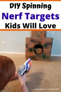 Cool DIY Spinning Nerf Targets for Kids. Recycle all those amazon cardboard boxes, toilet paper rolls and paper towel rolls to make these cheap and easy Nerf Targets. It will keep the kids busy for hours.
