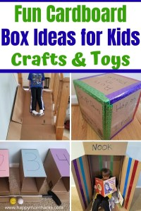 Fun Cardboard Box Ideas for Kids at home. Kids will love these Indoor activities made out of cardboard boxes. Super easy to make and a blast to play with! Find everything from an indoor slide to golf, marble runs, craft butterflies, reading nooks, car ramps, building blocks and more. A great way to recuse cardboard at home.