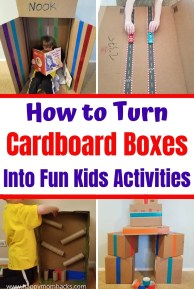 10 Cardboard Box Activities, Crafts & Toys for Kids. Turn all your old cardboard boxes into fun things for kids to do at home. Easy DIY Cardboard crafts to make marble runs, race track, reading nooks, building blocks, Nerf targets and more. Tons of ideas to keep kids busy indoors on rainy days.