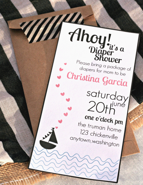 Ahoy A Nautical Themed Baby Shower With Free Printable Invitation Party Invitations