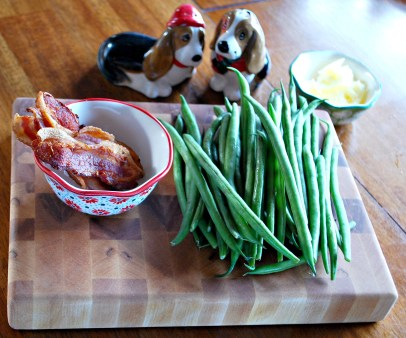 Green bean ingredients...and basset hound salt and pepper shakers a must!