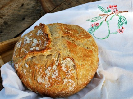Golden brown, crusty artisan bread